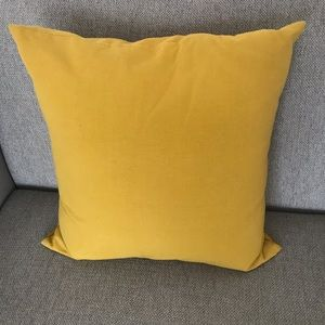 Crate&Barrel mustard Brinkley 18in square pillow